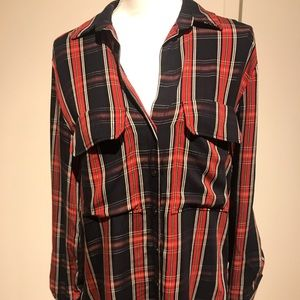 Zara plaid blouse in black and red